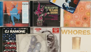 Photograph of a random lot of 13 CDs that were decluttered. The CDs are laid out in a tiled fashion and we can see some artists like CJ Ramone, The Hellacopters and Collective Soul for example.