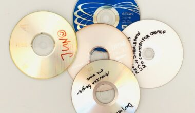 Photograph of 5 DVD-Roms without covers, which have handwritten titles on them. One of the Roms is blue. The photo is taken from above against a white background.