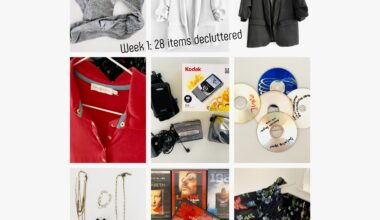 """Image consists of nine tiles showing photos of things sorted out during a decluttering challenge, including costume jewelery, blazers, blouses, CD-Roms, electronic items like a Walkman and Kodak vlogging camera, and socks. Caption reads """"Week 1: 28 items decluttered"""""""