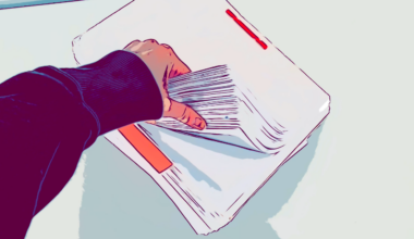 A comic-like photo of a hand flipping through a huge stack of old documents