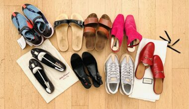 Photo of eight pairs of shoes laid out neatly on a clean oak parquet floor. The shoes include trainers from Nike, sandels, wedges, mules from Gucci, and a pair of Ferragamo ballerinas. They were all sorted out during a 30 day declutter challenge.