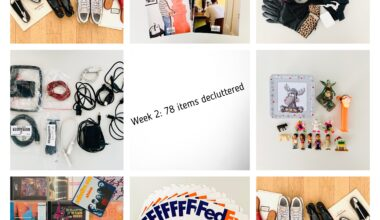 """Image shows eight tiles with photographs of assorted household items that were weeded out during the second week of a 30 day decluttering challenge. Items include magazines, designer shoes, random cables and power plugs, CDs, small toys, and FedEx envelopes. The caption says """"Week 2: 78 items decluttered"""""""