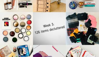 """Tiled image of 8 photographs of items weeded out in the third week of a minimalism declutter challenge. Clothing, hobby supplies, photographic filters, pamphlets and office drawer junk were some of the things sorted out. In the middle of the image is a caption that says """"Week 3: 126 items decluttered""""."""