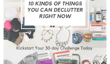 Image shows nine tiles of photographs displaying random objects against a white background, which have been decluttered. The objects include old socks and gloves, electronic cords and power cables, expired medicine from the medicine cabinet, dried up masking tape, broken costume jewellery, and brochures. The caption says 10 kinds of things you can declutter right now to kickstart your 30-day challenge.