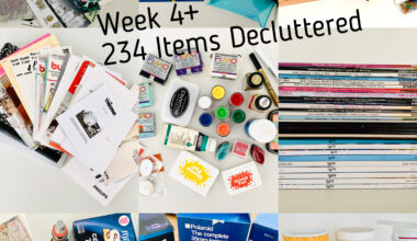 Image showing 9 tiles of photographs of different items sorted out during the fourth week of a decluttering challenge