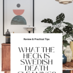 Mid-century modern interior with teak furniture, a monstera, and vases. Caption reads What the heck is Swedish Death Cleaning? Review & practical tips, tidymalism.com