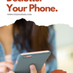 """Woman's hands holding a large-size smartphone. We see only her hands, long brown hair, and that she's wearing a denim shirt over a white tanktop. Caption reads """"6 steps to declutter your phone"""" and directs to an article at tidymalism.com about digital minimalism and mobile phone decluttering."""