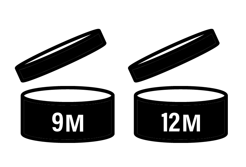 Black and white graphical symbols used on beauty and skincare products to indicate the number of months a product may be used once opening. These two examples look like a jar with an open top. One says 9M for nine months, the other 12M for twelve months.