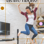 Young lady in jeans, white undershirt and red flannel shirt is wearing headphones and jumping in the air in her living room to music. The room is tidy and clean. She is barefoot and appears to be very happy. Caption reads: Living Alone. Benefits & Advantages.