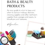 Cropped photographs and illustrations of common bathroom items like a razor, shaving cream brush, soap, makeup brushes, nail file, scissors, facial creams, lipstick and sponges. Caption reads Decluttering Bath and Beauty Products.