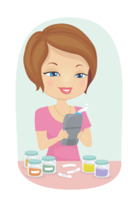 Illustration of lady using a label maker to label some glass jars.