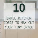 Tidy, modern looking kitchen with no clutter on countertops. White walls and carrera marble counters with glass front upper cabinets. Caption reads Storage solutions & organization: 10 small kitchen ideas to max out your tiny space. Tidymalism.com.