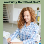 Young red-haired woman in a baby blue flannel shirt sitting at her laptop on the kitchen table. She is typing and an open notebook lies to the right of her laptop. Caption reads: What's a home inventory spreadsheet and why do I need one? For renters and home owners alike.