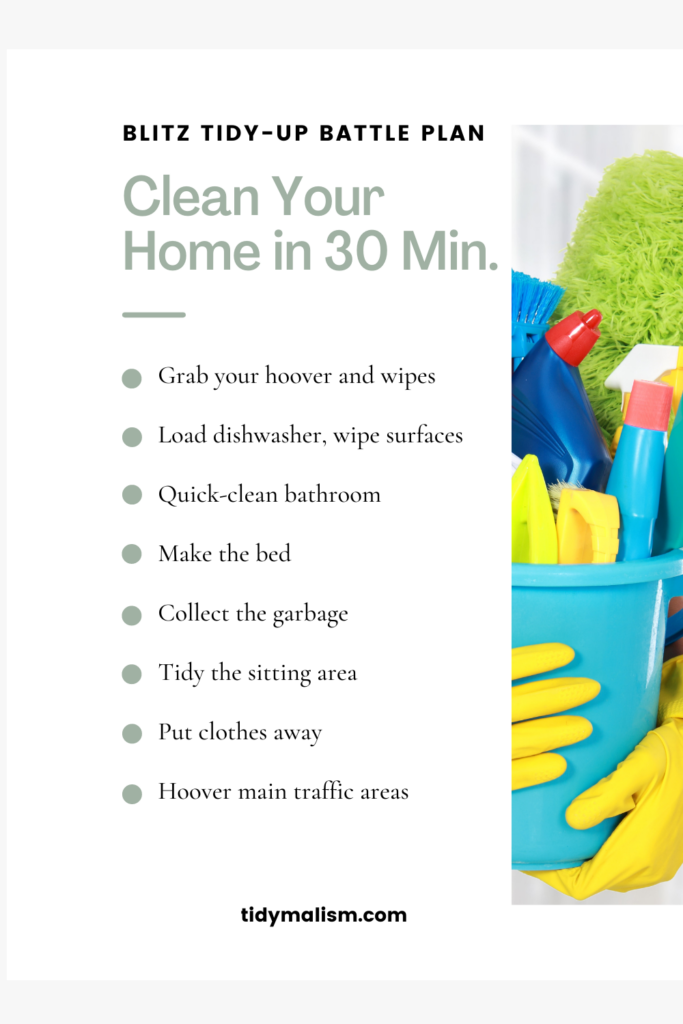 Close-up photograph of two yellow rubber-gloved hands holding a turquoise cleaning bucket containing cleaning supplies like sponges, toilet cleaner, mop, glass cleaner. Caption reads: Blitz tidy-up battle plan. Clean your home in 30 minutes.