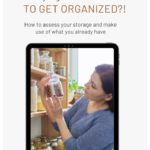 Woman standing in her pantry and taking stock of her storage jars and glasses she uses to organize her stock of dried goods. Caption reads: sustainability. How to assess your storage and make use of what you have.